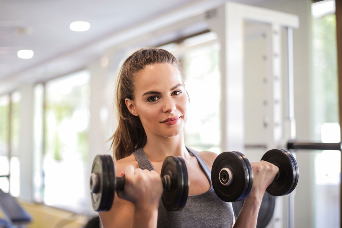 Bicep curls as part of HIIT workout